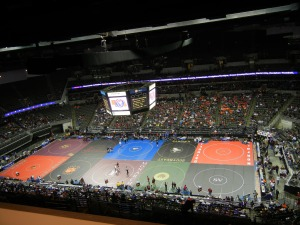 Shown above is the NSAA state wrestling tournament in CenturyLink Center